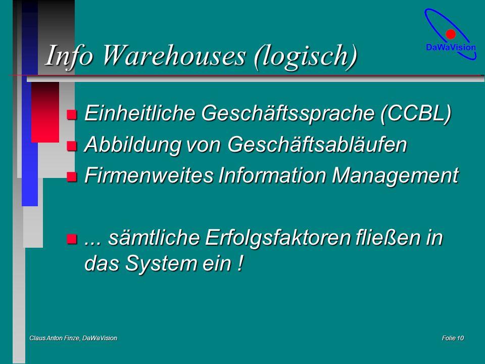Claus Anton Finze, DaWaVision Folie 10 Info Warehouses (logisch) n Einheitliche Geschäftssprache (CCBL) n Abbildung von Geschäftsabläufen n Firmenweites Information Management n...