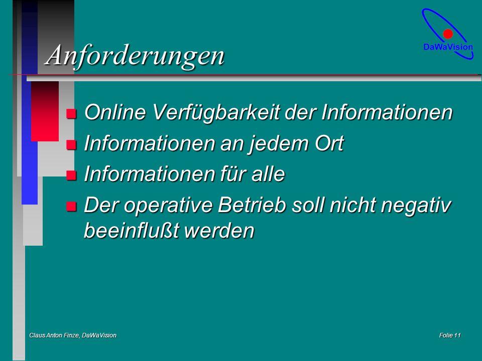Claus Anton Finze, DaWaVision Folie 11 Anforderungen n Online Verfügbarkeit der Informationen n Informationen an jedem Ort n Informationen für alle n Der operative Betrieb soll nicht negativ beeinflußt werden