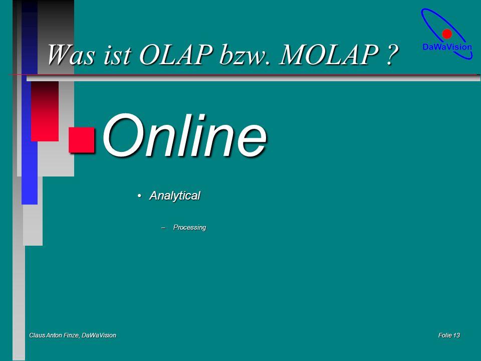 Claus Anton Finze, DaWaVision Folie 13 Was ist OLAP bzw. MOLAP ? n Online AnalyticalAnalytical –Processing