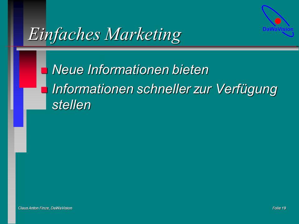 Claus Anton Finze, DaWaVision Folie 19 Einfaches Marketing n Neue Informationen bieten n Informationen schneller zur Verfügung stellen