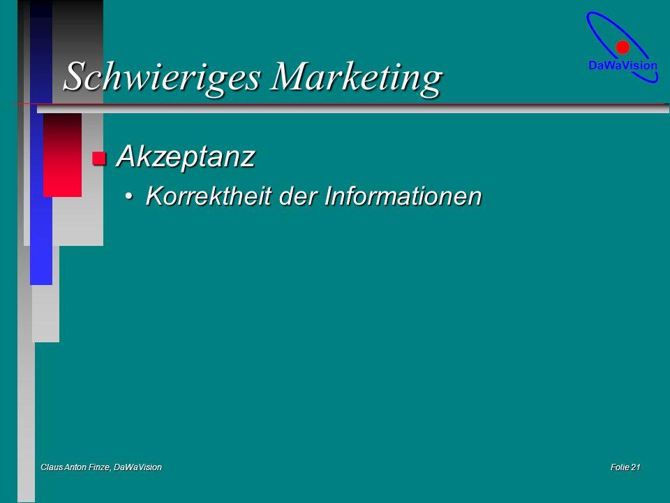 Claus Anton Finze, DaWaVision Folie 21 Schwieriges Marketing n Akzeptanz Korrektheit der InformationenKorrektheit der Informationen
