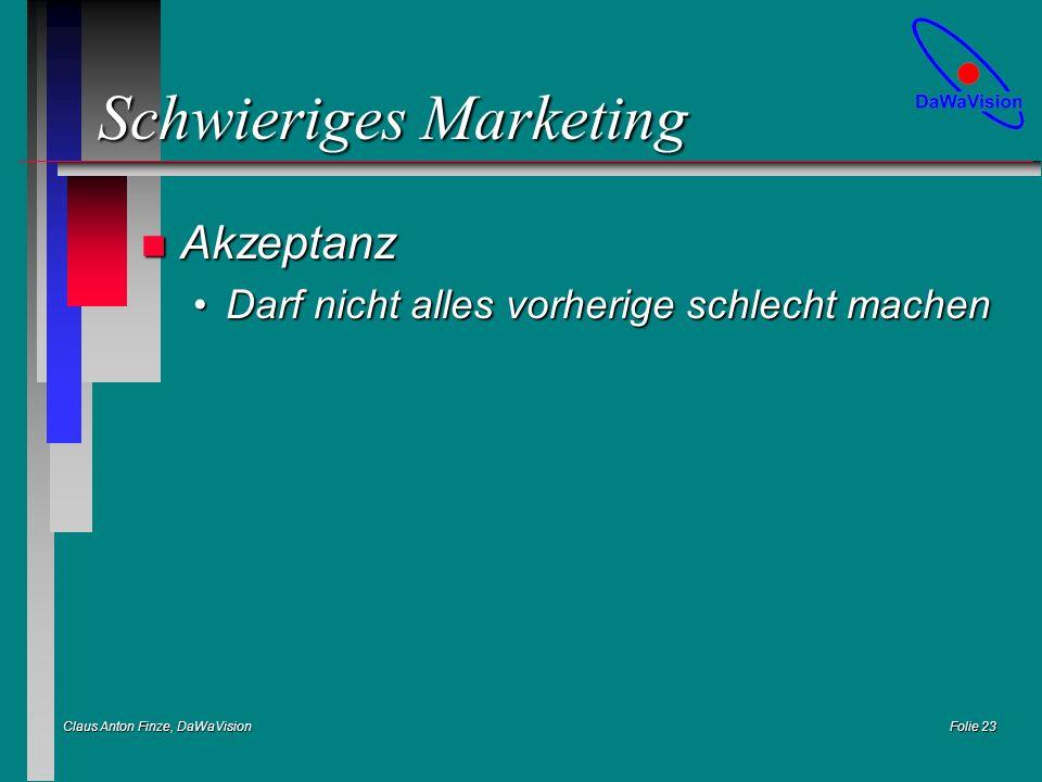 Claus Anton Finze, DaWaVision Folie 23 Schwieriges Marketing n Akzeptanz Darf nicht alles vorherige schlecht machenDarf nicht alles vorherige schlecht machen
