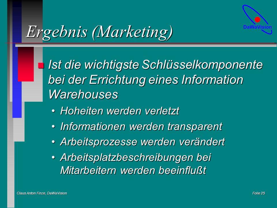 Claus Anton Finze, DaWaVision Folie 25 Ergebnis (Marketing) n Ist die wichtigste Schlüsselkomponente bei der Errichtung eines Information Warehouses H