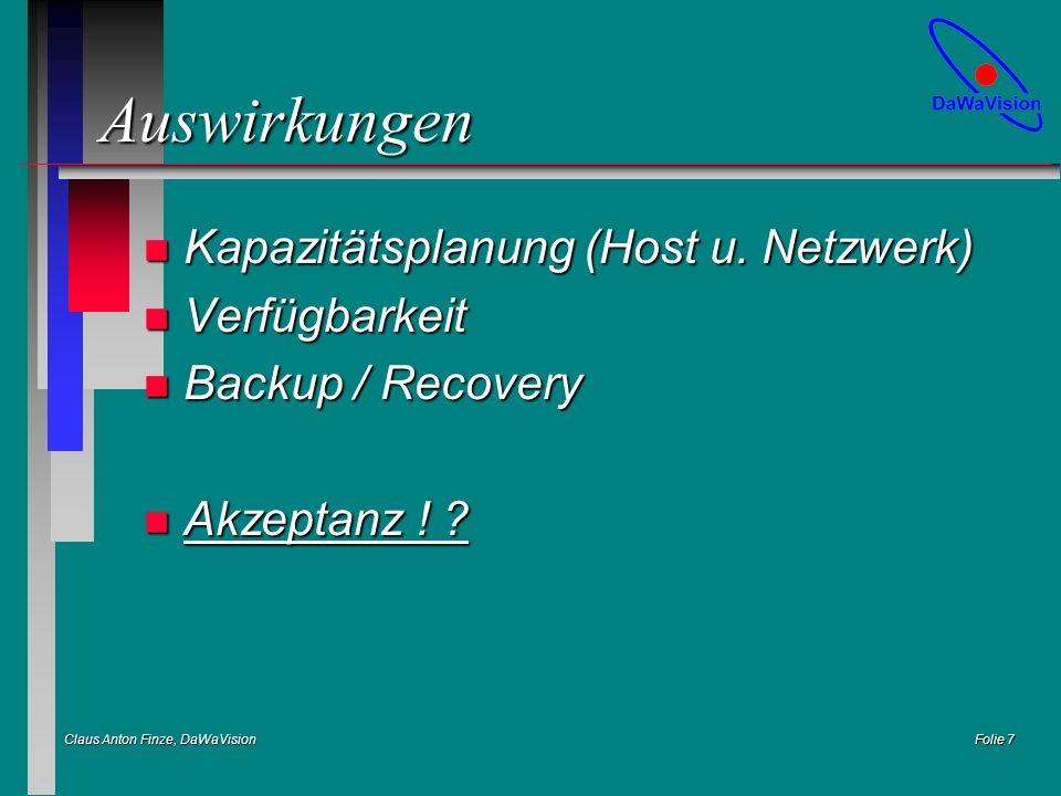 Claus Anton Finze, DaWaVision Folie 7 Auswirkungen n Kapazitätsplanung (Host u. Netzwerk) n Verfügbarkeit n Backup / Recovery n Akzeptanz ! ?