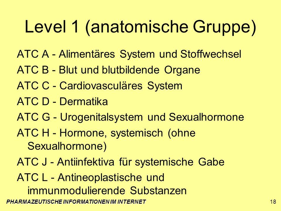 Level 1 (anatomische Gruppe) ATC A - Alimentäres System und Stoffwechsel ATC B - Blut und blutbildende Organe ATC C - Cardiovasculäres System ATC D -