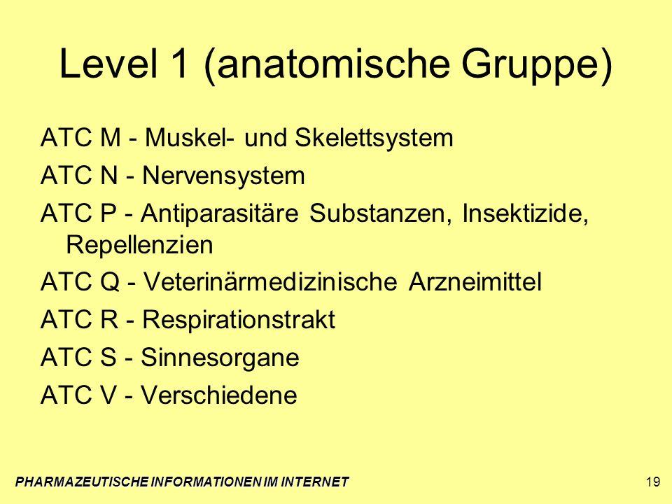 Level 1 (anatomische Gruppe) ATC M - Muskel- und Skelettsystem ATC N - Nervensystem ATC P - Antiparasitäre Substanzen, Insektizide, Repellenzien ATC Q