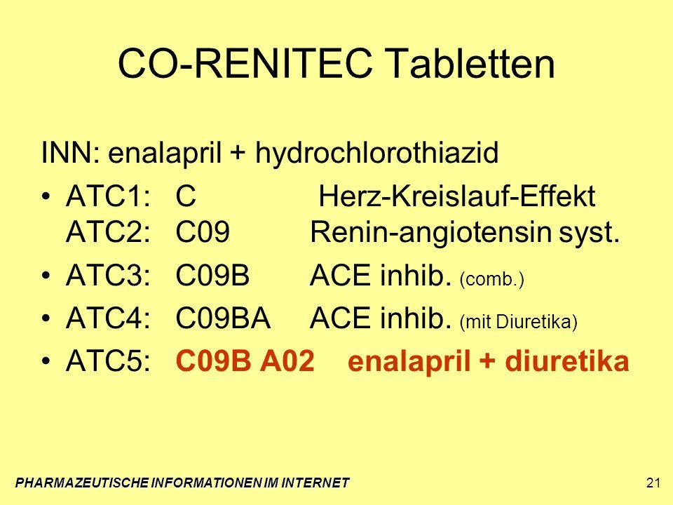 PHARMAZEUTISCHE INFORMATIONEN IM INTERNET21 CO-RENITEC Tabletten INN:enalapril + hydrochlorothiazid ATC1:C Herz-Kreislauf-Effekt ATC2:C09Renin-angiote