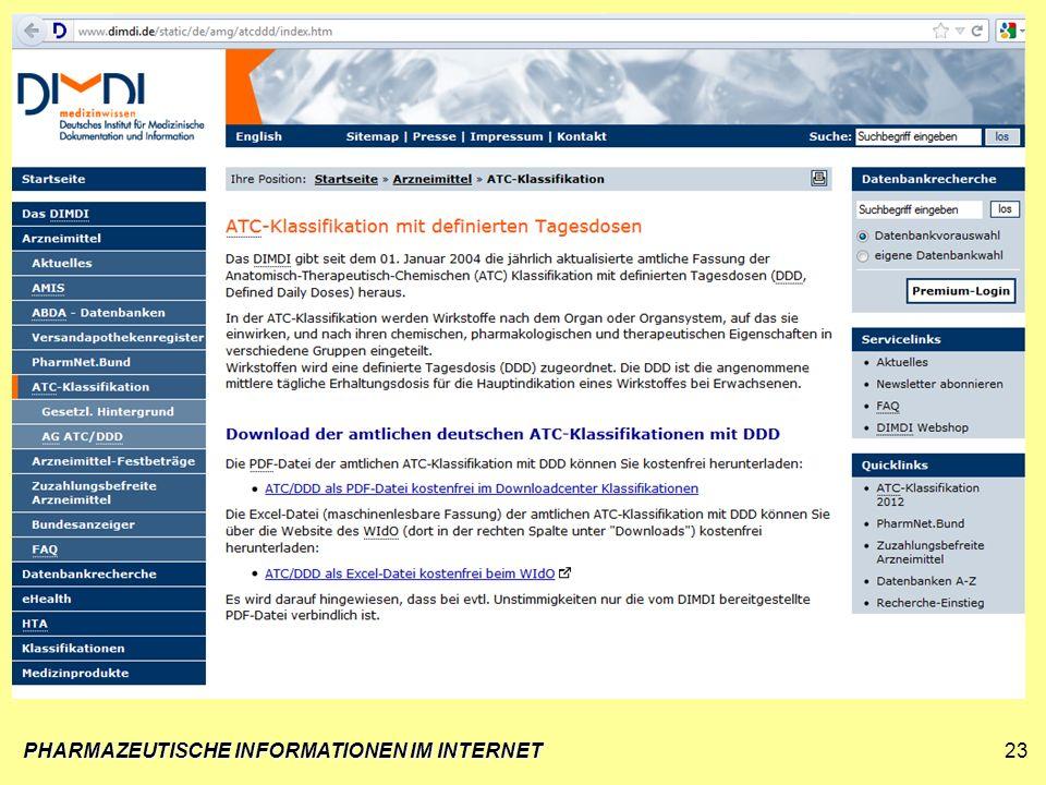 PHARMAZEUTISCHE INFORMATIONEN IM INTERNET23