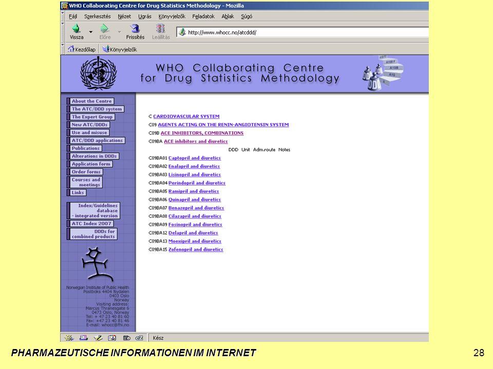 PHARMAZEUTISCHE INFORMATIONEN IM INTERNET28
