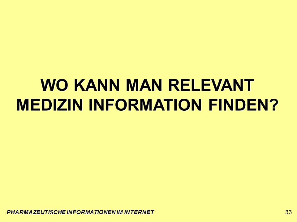 PHARMAZEUTISCHE INFORMATIONEN IM INTERNET33 WO KANN MAN RELEVANT MEDIZIN INFORMATION FINDEN?