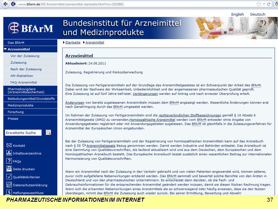 PHARMAZEUTISCHE INFORMATIONEN IM INTERNET37