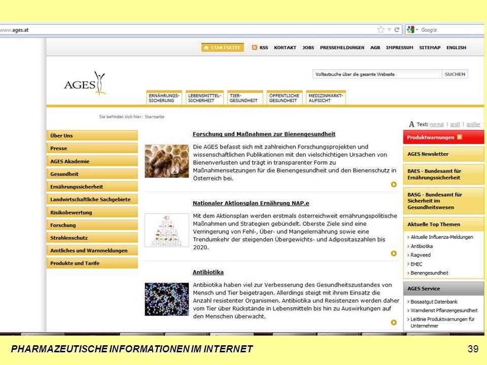 PHARMAZEUTISCHE INFORMATIONEN IM INTERNET39