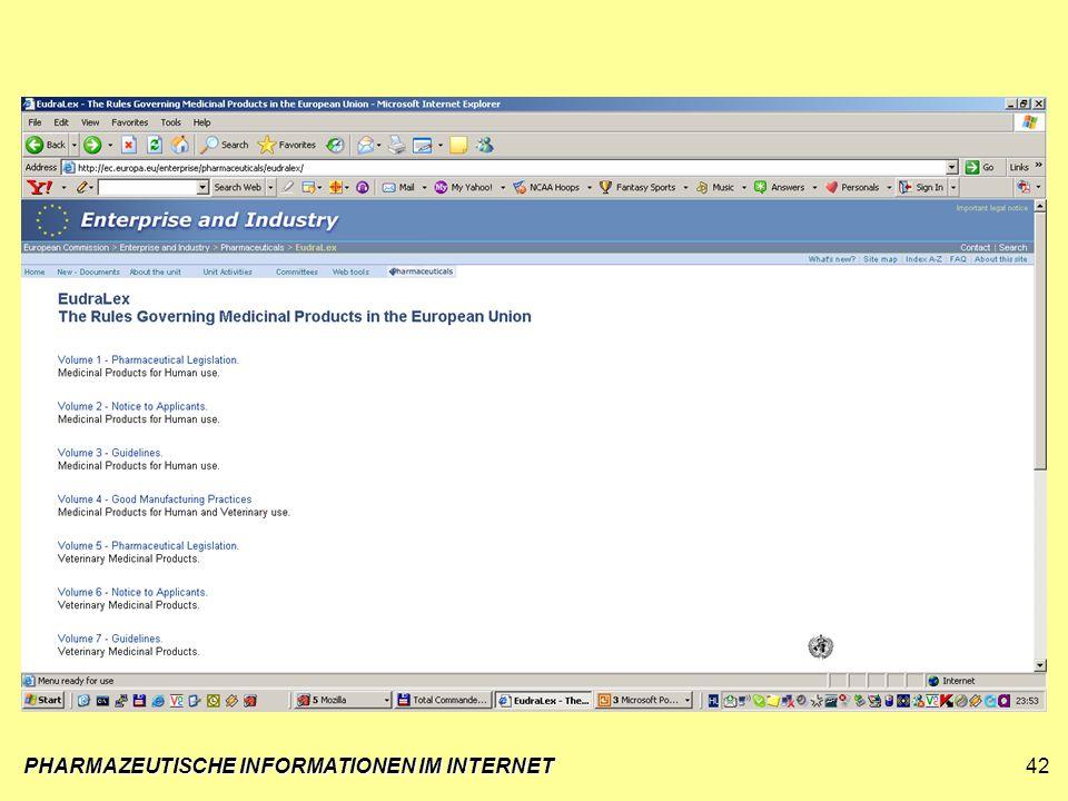 PHARMAZEUTISCHE INFORMATIONEN IM INTERNET42