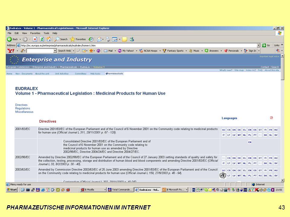 PHARMAZEUTISCHE INFORMATIONEN IM INTERNET43