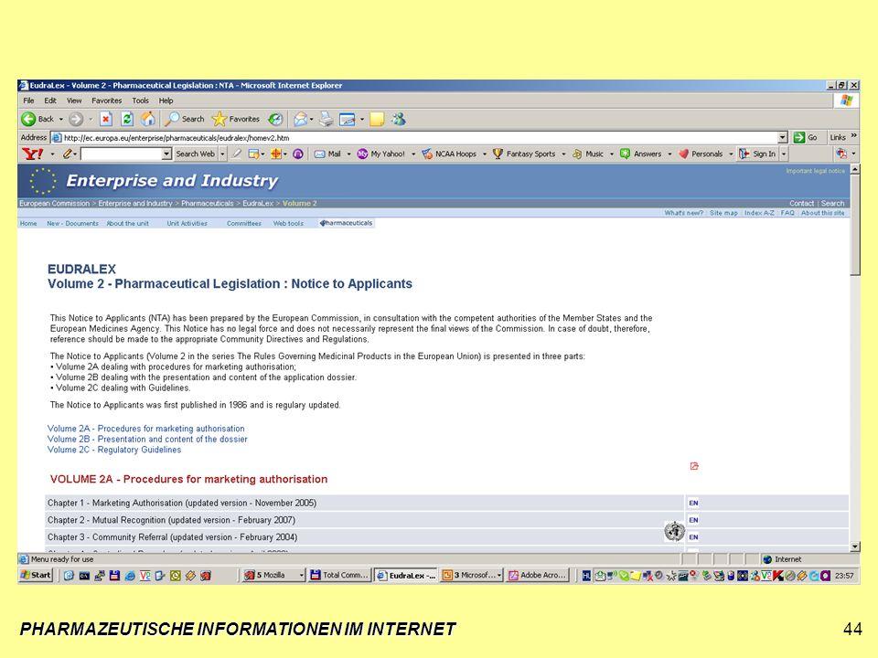 PHARMAZEUTISCHE INFORMATIONEN IM INTERNET44