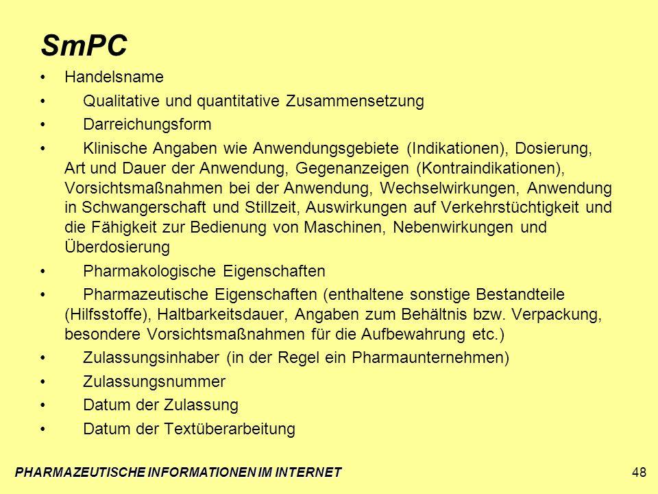 PHARMAZEUTISCHE INFORMATIONEN IM INTERNET48 SmPC Handelsname Qualitative und quantitative Zusammensetzung Darreichungsform Klinische Angaben wie Anwen