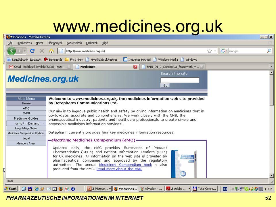 PHARMAZEUTISCHE INFORMATIONEN IM INTERNET52 www.medicines.org.uk