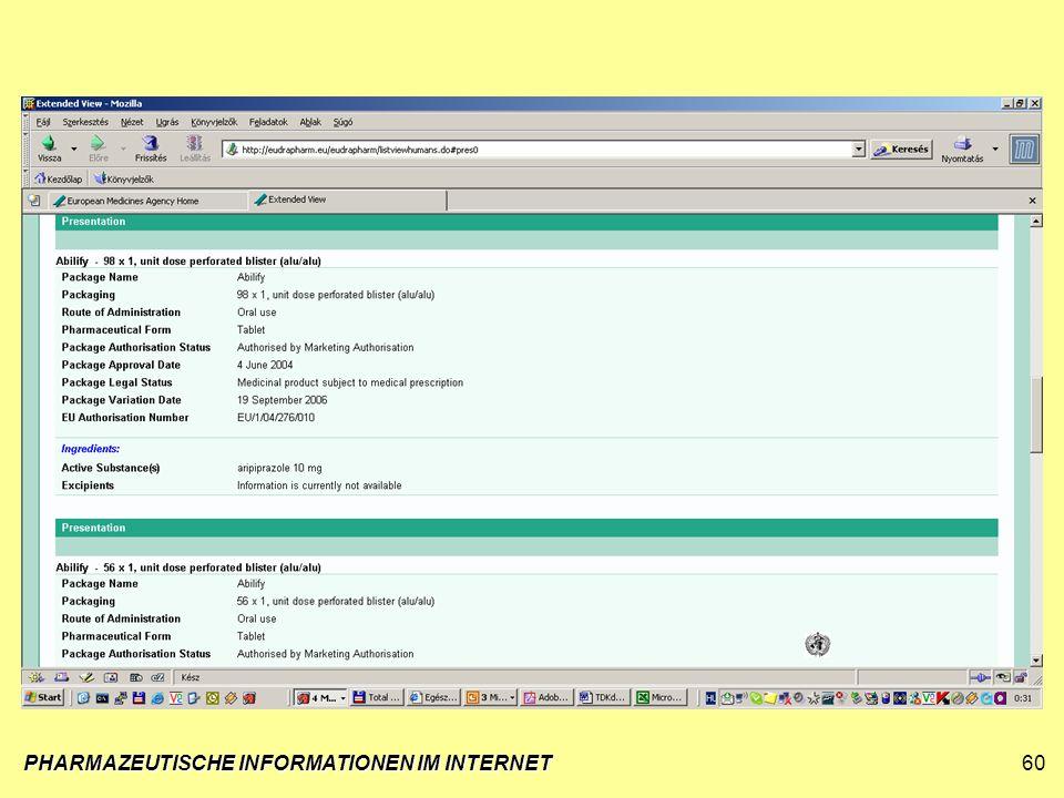 PHARMAZEUTISCHE INFORMATIONEN IM INTERNET60