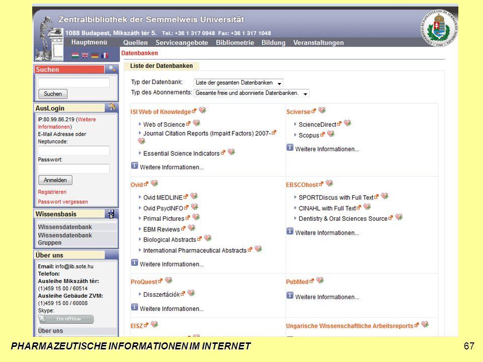 PHARMAZEUTISCHE INFORMATIONEN IM INTERNET67