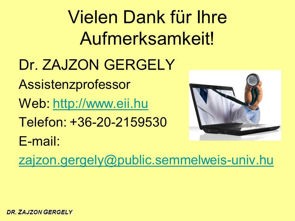 DR. Z AJZON G ERGELY Vielen Dank für Ihre Aufmerksamkeit! Dr. ZAJZON GERGELY Assistenzprofessor Web: http://www.eii.huhttp://www.eii.hu Telefon: +36-2