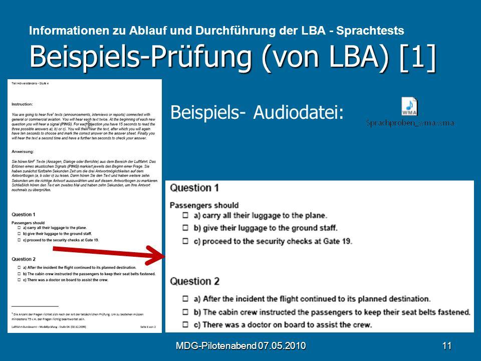 Beispiels-Prüfung (von LBA) [1] Informationen zu Ablauf und Durchführung der LBA - Sprachtests Beispiels-Prüfung (von LBA) [1] MDG-Pilotenabend 07.05.