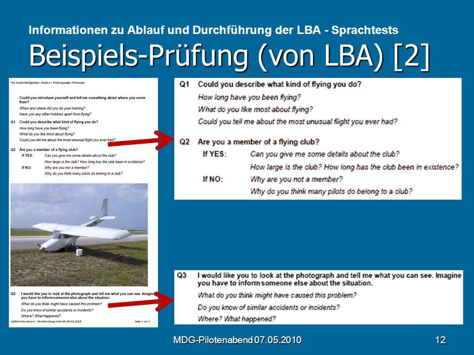 Beispiels-Prüfung (von LBA) [2] Informationen zu Ablauf und Durchführung der LBA - Sprachtests Beispiels-Prüfung (von LBA) [2] MDG-Pilotenabend 07.05.