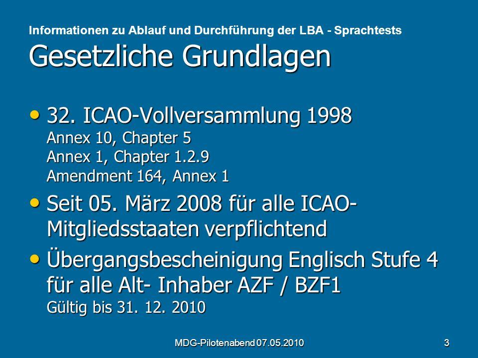 Gesetzliche Grundlagen Informationen zu Ablauf und Durchführung der LBA - Sprachtests Gesetzliche Grundlagen 32. ICAO-Vollversammlung 1998 Annex 10, C