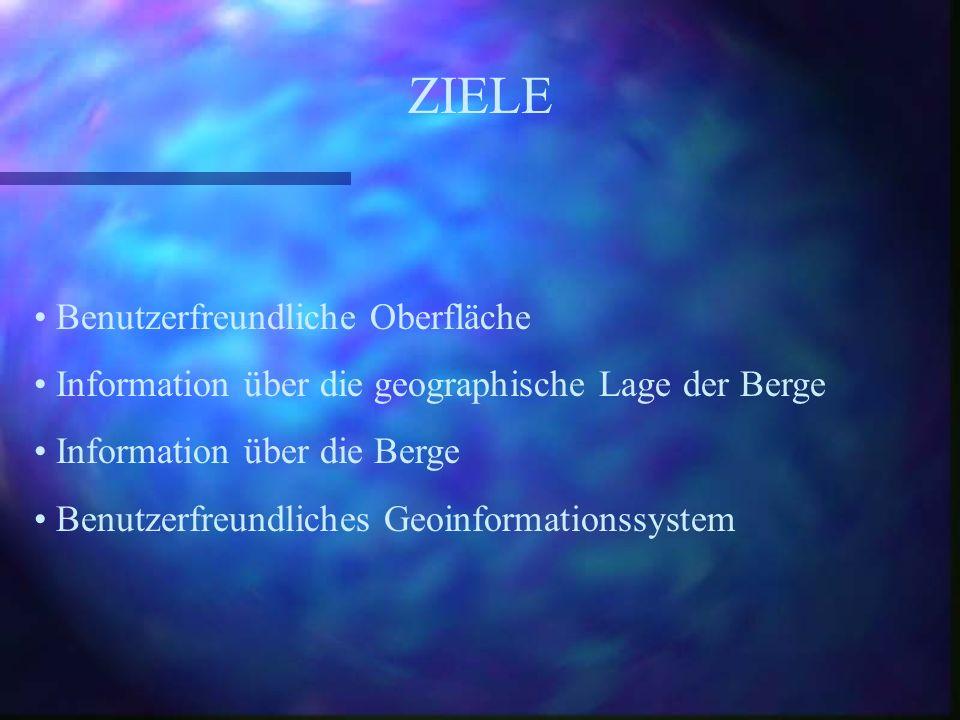 Benutzerfreundliche Oberfläche Information über die geographische Lage der Berge Information über die Berge Benutzerfreundliches Geoinformationssystem ZIELE