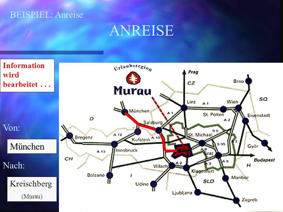 BEISPIEL: Anreise ANREISE Von: Nach: München Kreischberg (Murau) Information wird bearbeitet...
