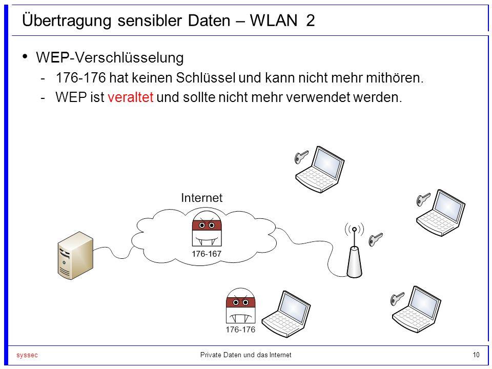 syssec10 Übertragung sensibler Daten – WLAN 2 WEP-Verschlüsselung -176-176 hat keinen Schlüssel und kann nicht mehr mithören. -WEP ist veraltet und so
