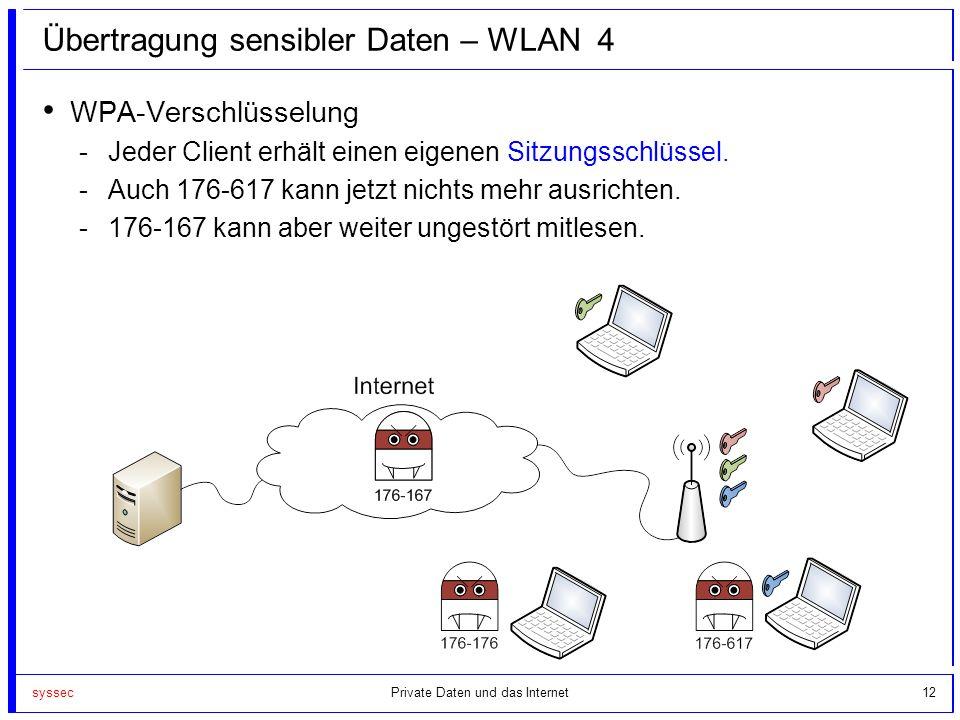 syssec12 Übertragung sensibler Daten – WLAN 4 WPA-Verschlüsselung -Jeder Client erhält einen eigenen Sitzungsschlüssel. -Auch 176-617 kann jetzt nicht