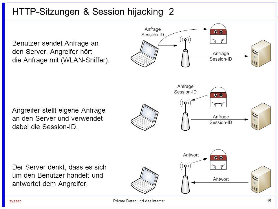syssec15 HTTP-Sitzungen & Session hijacking 2 Benutzer sendet Anfrage an den Server. Angreifer hört die Anfrage mit (WLAN-Sniffer). Angreifer stellt e