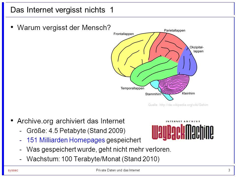 syssec3 Das Internet vergisst nichts 1 Warum vergisst der Mensch? Archive.org archiviert das Internet -Größe: 4.5 Petabyte (Stand 2009) -151 Milliarde
