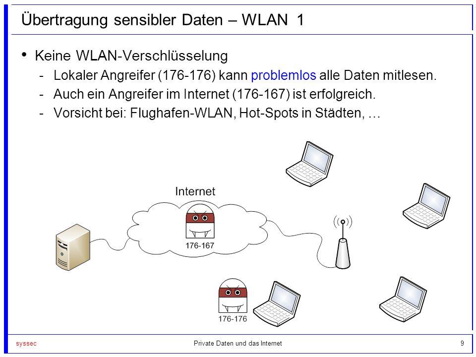 syssec9 Übertragung sensibler Daten – WLAN 1 Keine WLAN-Verschlüsselung -Lokaler Angreifer (176-176) kann problemlos alle Daten mitlesen. -Auch ein An