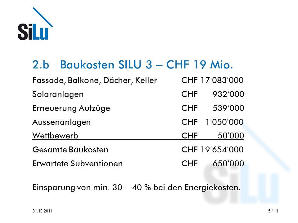5 / 1131.10.2011 2.b Baukosten SILU 3 – CHF 19 Mio.