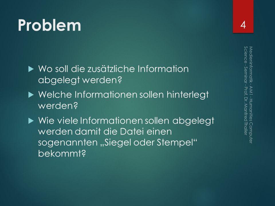 Problem Wo soll die zusätzliche Information abgelegt werden? Welche Informationen sollen hinterlegt werden? Wie viele Informationen sollen abgelegt we