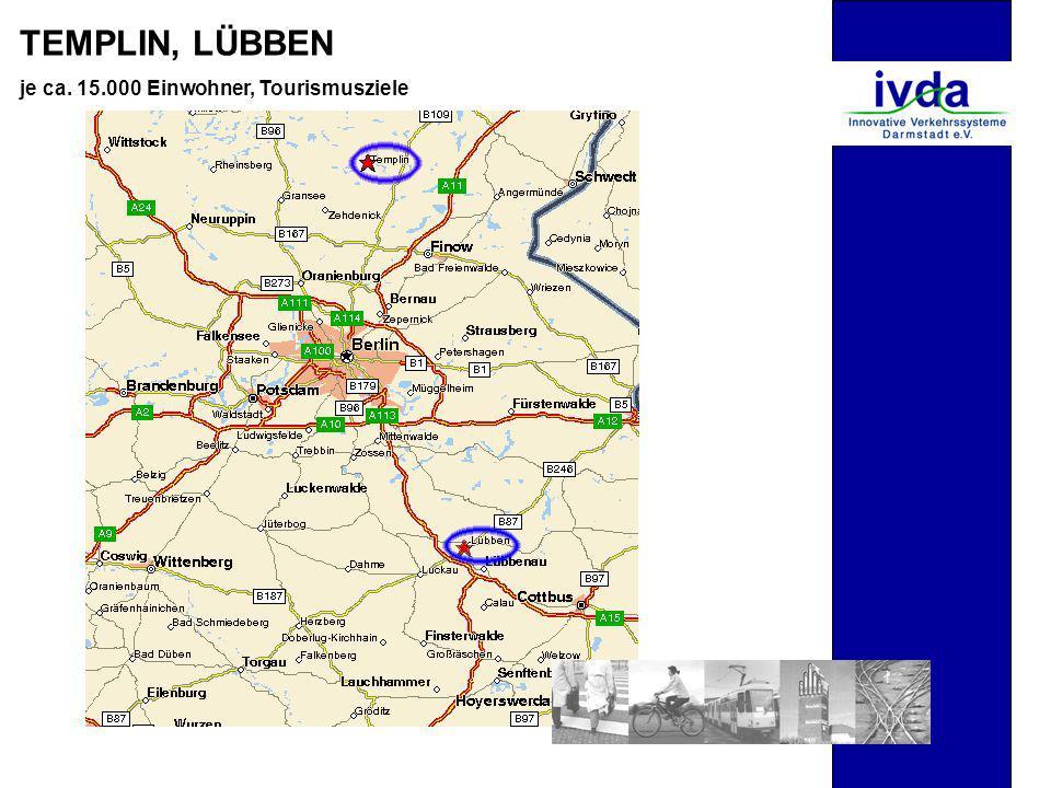 TEMPLIN, LÜBBEN je ca. 15.000 Einwohner, Tourismusziele