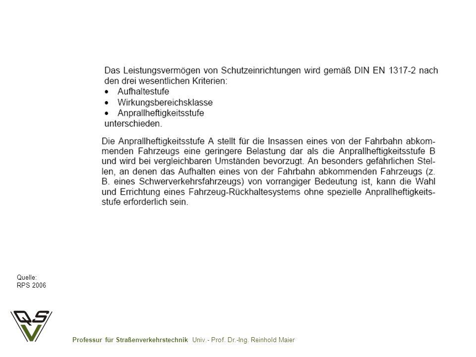 Professur für Straßenverkehrstechnik Univ.- Prof. Dr.-Ing. Reinhold Maier Quelle: RPS 2006