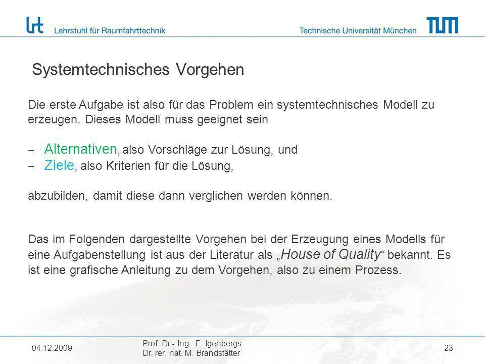 04.12.2009 Prof. Dr.- Ing. E. Igenbergs Dr. rer. nat. M. Brandstätter 23 Systemtechnisches Vorgehen Die erste Aufgabe ist also für das Problem ein sys