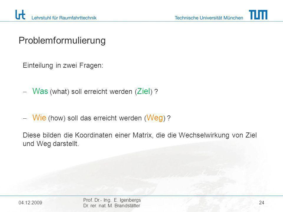 04.12.2009 Prof. Dr.- Ing. E. Igenbergs Dr. rer. nat. M. Brandstätter 24 Problemformulierung Einteilung in zwei Fragen: Was (what) soll erreicht werde