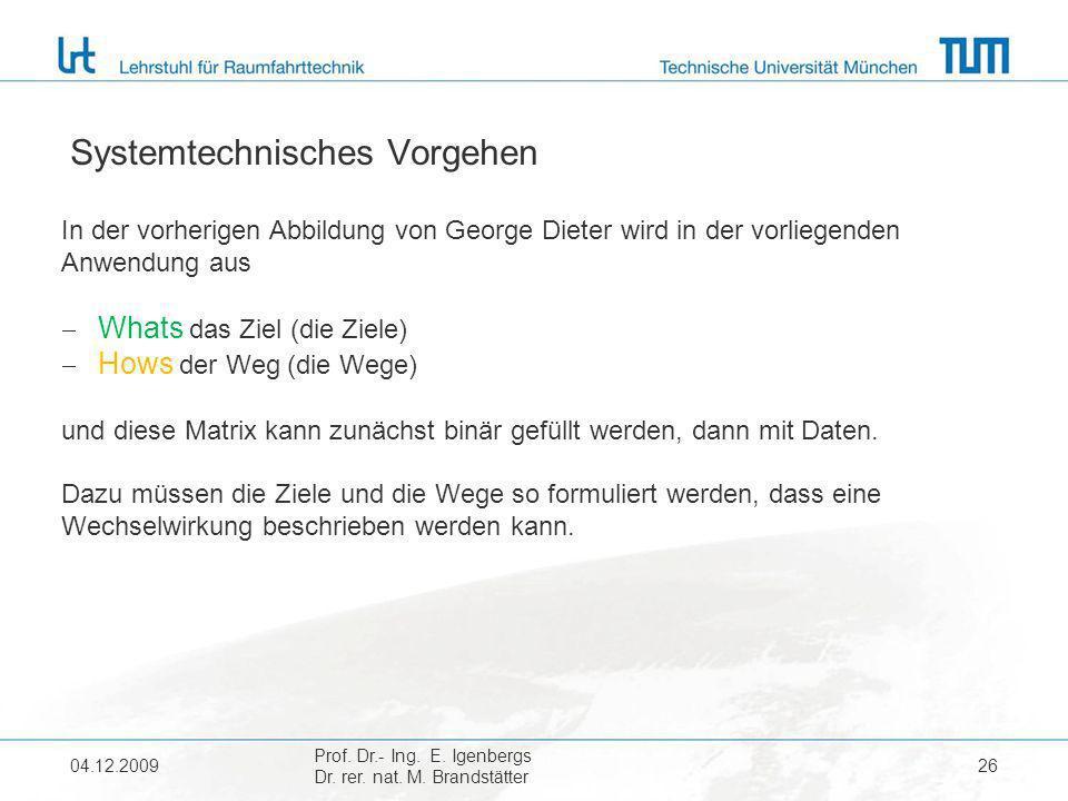 04.12.2009 Prof. Dr.- Ing. E. Igenbergs Dr. rer. nat. M. Brandstätter 26 Systemtechnisches Vorgehen In der vorherigen Abbildung von George Dieter wird