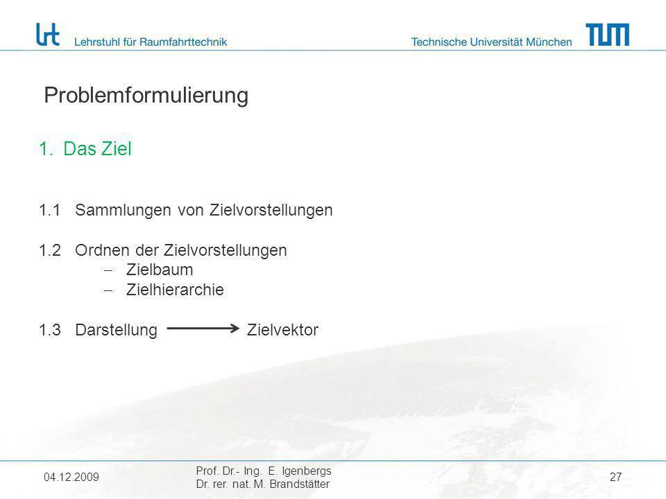 04.12.2009 Prof. Dr.- Ing. E. Igenbergs Dr. rer. nat. M. Brandstätter 27 Problemformulierung 1.Das Ziel 1.1 Sammlungen von Zielvorstellungen 1.2 Ordne