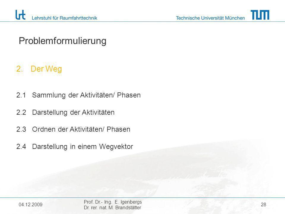 04.12.2009 Prof. Dr.- Ing. E. Igenbergs Dr. rer. nat. M. Brandstätter 28 Problemformulierung 2.Der Weg 2.1 Sammlung der Aktivitäten/ Phasen 2.2 Darste