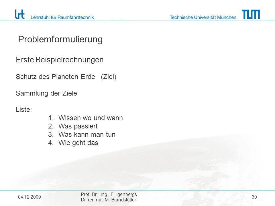 04.12.2009 Prof. Dr.- Ing. E. Igenbergs Dr. rer. nat. M. Brandstätter 30 Problemformulierung Erste Beispielrechnungen Schutz des Planeten Erde (Ziel)