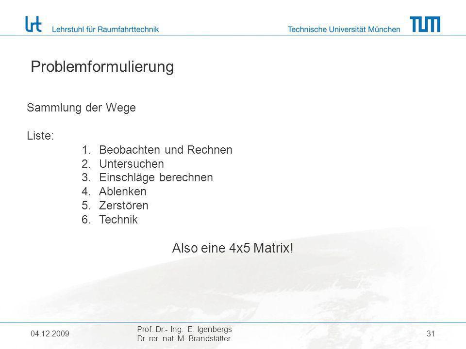 04.12.2009 Prof. Dr.- Ing. E. Igenbergs Dr. rer. nat. M. Brandstätter 31 Problemformulierung Sammlung der Wege Liste: 1.Beobachten und Rechnen 2.Unter