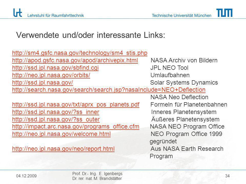 04.12.2009 Prof. Dr.- Ing. E. Igenbergs Dr. rer. nat. M. Brandstätter 34 Verwendete und/oder interessante Links: http://sm4.gsfc.nasa.gov/technology/s