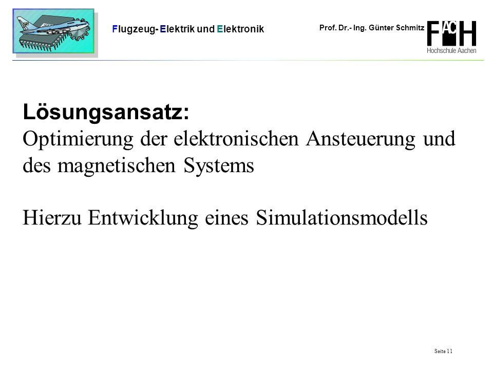 Prof. Dr.- Ing. Günter Schmitz Flugzeug- Elektrik und Elektronik Seite 11 Lösungsansatz: Optimierung der elektronischen Ansteuerung und des magnetisch