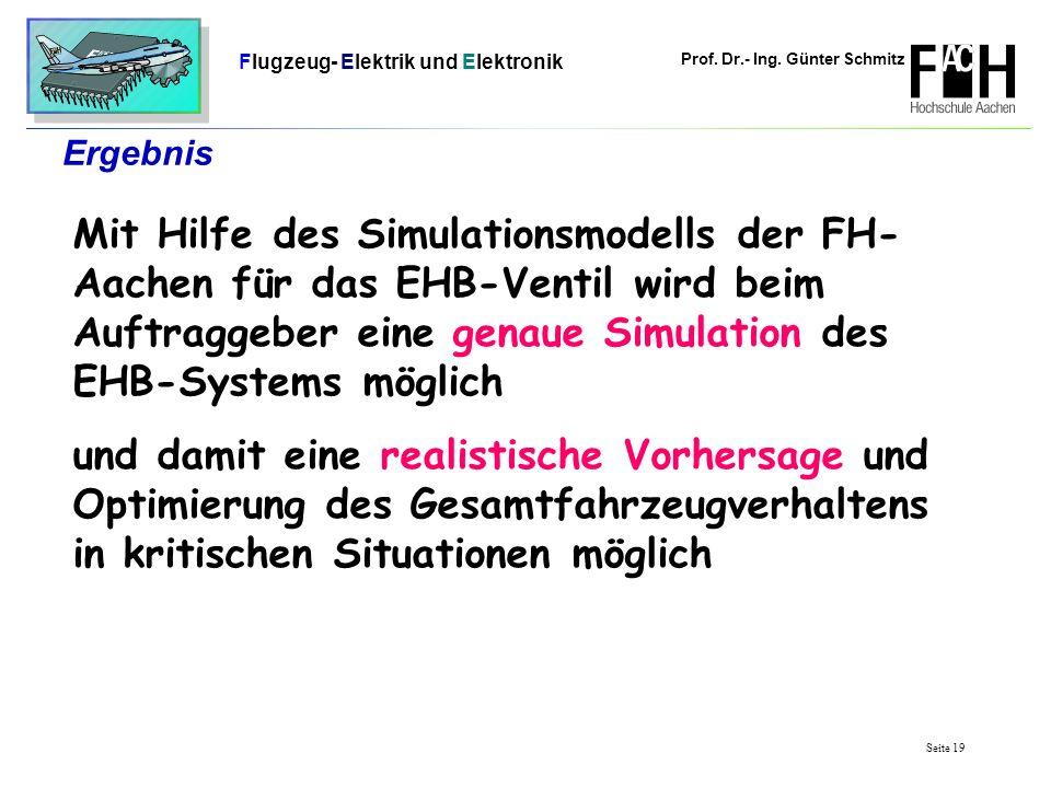 Prof. Dr.- Ing. Günter Schmitz Flugzeug- Elektrik und Elektronik Seite 19 Ergebnis Mit Hilfe des Simulationsmodells der FH- Aachen für das EHB-Ventil