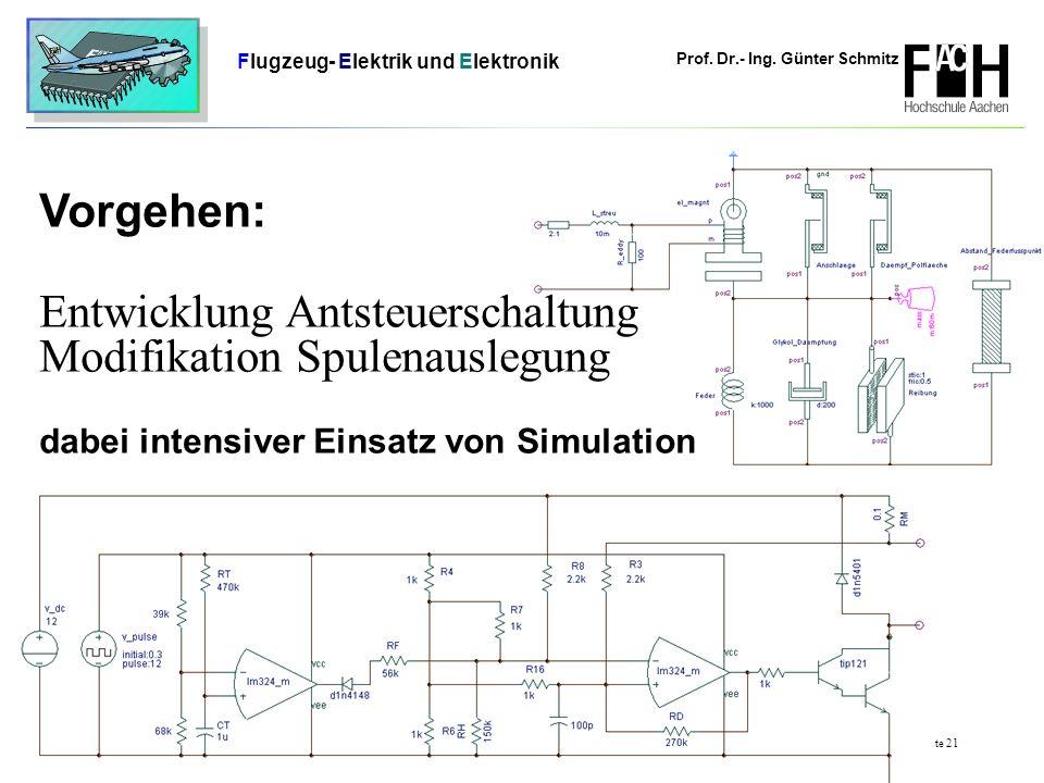 Prof. Dr.- Ing. Günter Schmitz Flugzeug- Elektrik und Elektronik Seite 21 Vorgehen: Entwicklung Antsteuerschaltung Modifikation Spulenauslegung dabei