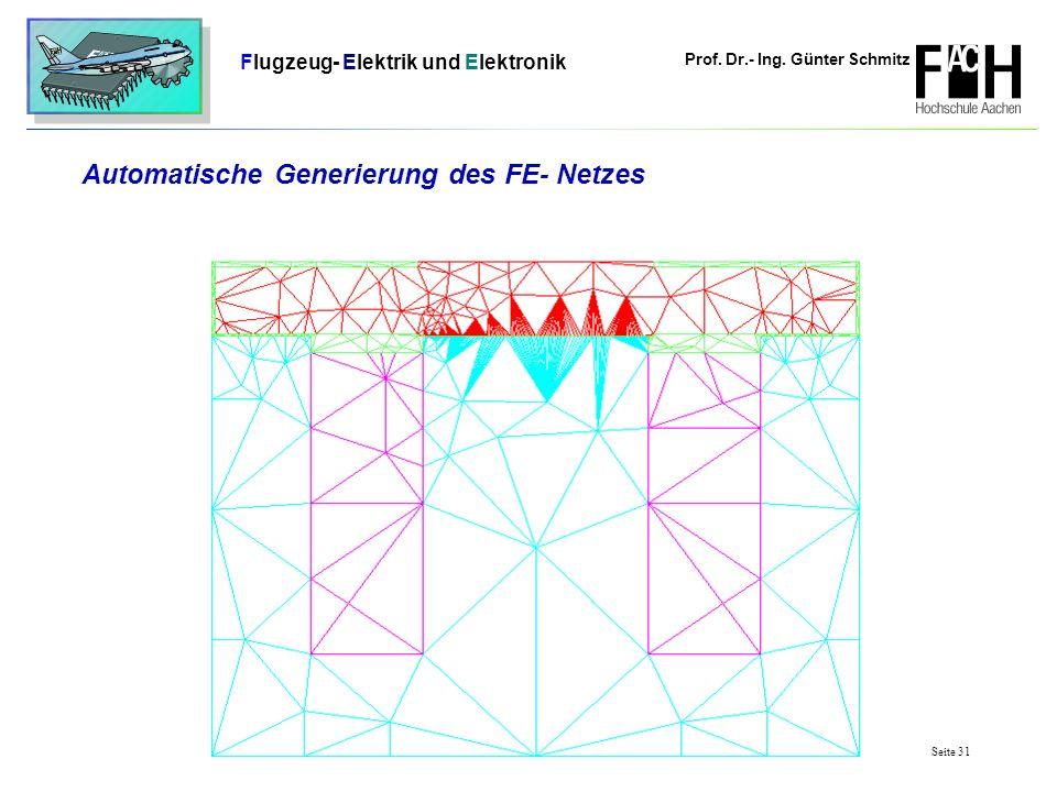 Prof. Dr.- Ing. Günter Schmitz Flugzeug- Elektrik und Elektronik Seite 31 Automatische Generierung des FE- Netzes